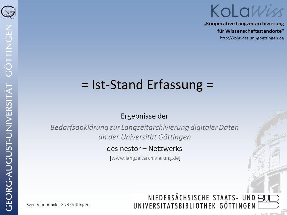 Sven Vlaeminck | SUB Göttingen = Ist-Stand Erfassung = = Ist-Stand Erfassung = Ergebnisse der Bedarfsabklärung zur Langzeitarchivierung digitaler Date