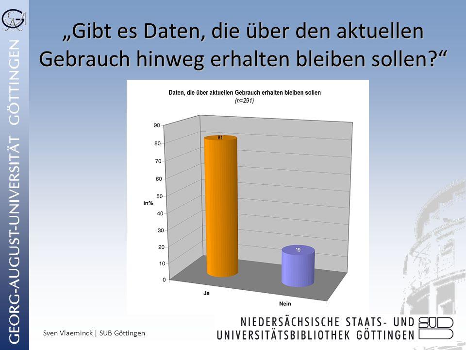 Sven Vlaeminck | SUB Göttingen Gibt es Daten, die über den aktuellen Gebrauch hinweg erhalten bleiben sollen?