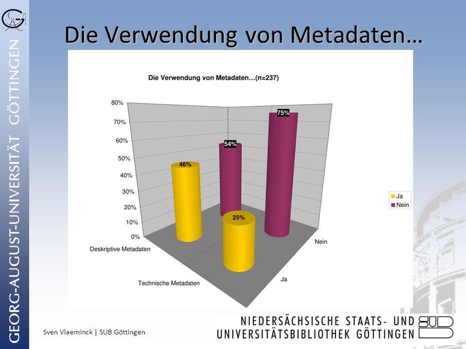 Sven Vlaeminck | SUB Göttingen Die Verwendung von Metadaten…