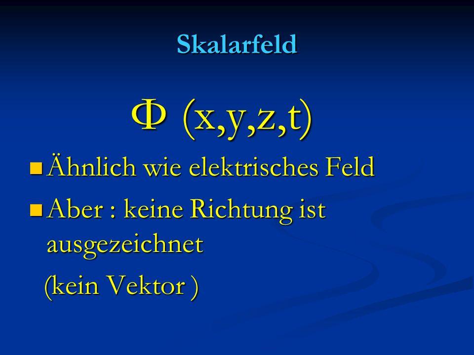 Skalarfeld Φ (x,y,z,t) Φ (x,y,z,t) Ähnlich wie elektrisches Feld Ähnlich wie elektrisches Feld Aber : keine Richtung ist ausgezeichnet Aber : keine Ri