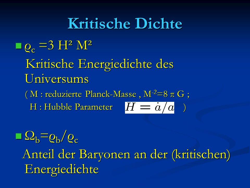 Kritische Dichte ρ c =3 H² M² ρ c =3 H² M² Kritische Energiedichte des Universums Kritische Energiedichte des Universums ( M : reduzierte Planck-Masse