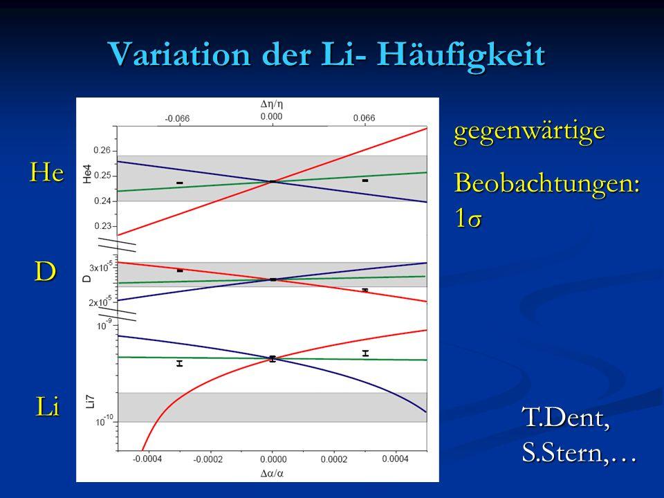 Variation der Li- Häufigkeit T.Dent,S.Stern,… gegenwärtige Beobachtungen: 1σ He D Li