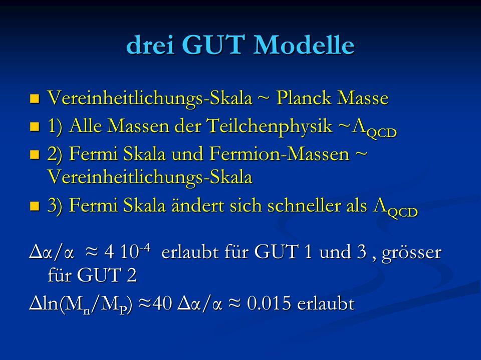 drei GUT Modelle Vereinheitlichungs-Skala ~ Planck Masse Vereinheitlichungs-Skala ~ Planck Masse 1) Alle Massen der Teilchenphysik ~Λ QCD 1) Alle Mass