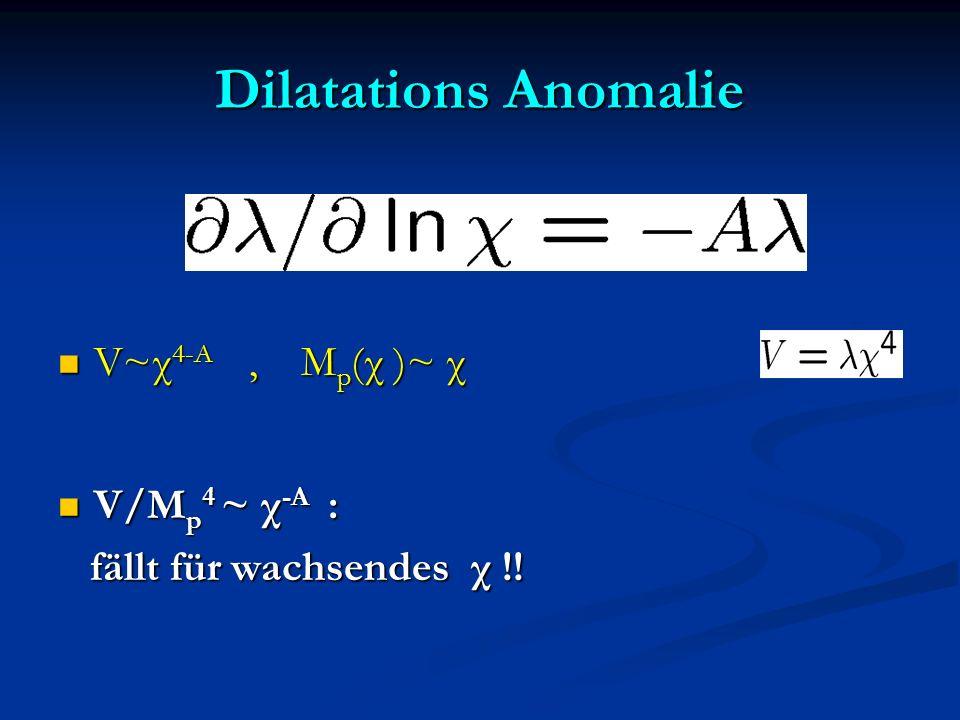 Dilatations Anomalie V~χ 4-A, M p (χ )~ χ V~χ 4-A, M p (χ )~ χ V/M p 4 ~ χ -A : V/M p 4 ~ χ -A : fällt für wachsendes χ !! fällt für wachsendes χ !!