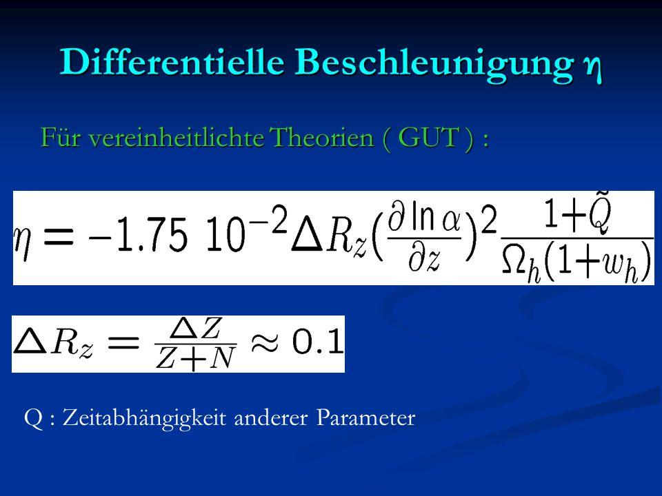 Differentielle Beschleunigung η Für vereinheitlichte Theorien ( GUT ) : Q : Zeitabhängigkeit anderer Parameter