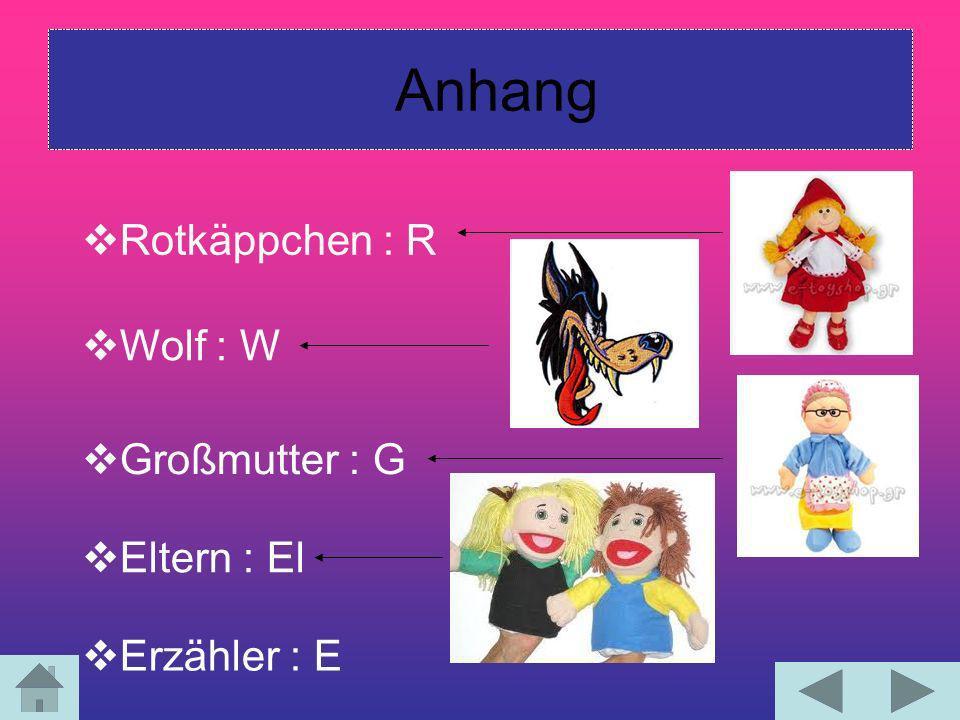 Anhang Rotkäppchen : R Wolf : W Großmutter : G Erzähler : E Eltern : El