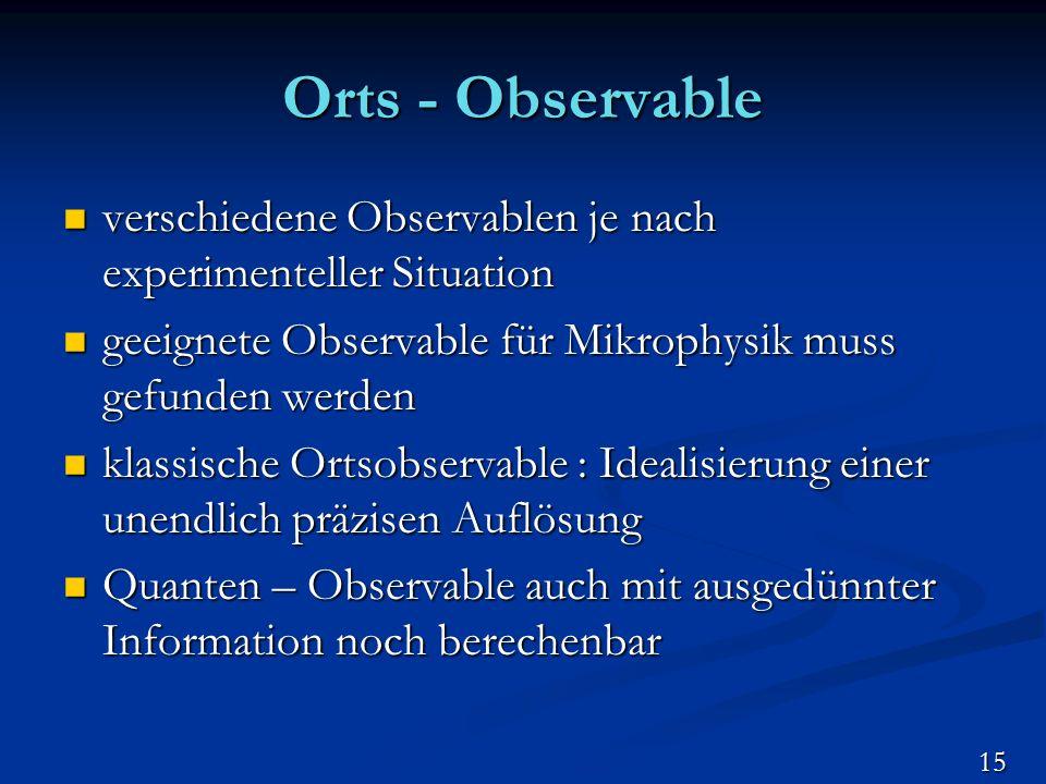 Orts - Observable verschiedene Observablen je nach experimenteller Situation verschiedene Observablen je nach experimenteller Situation geeignete Obse