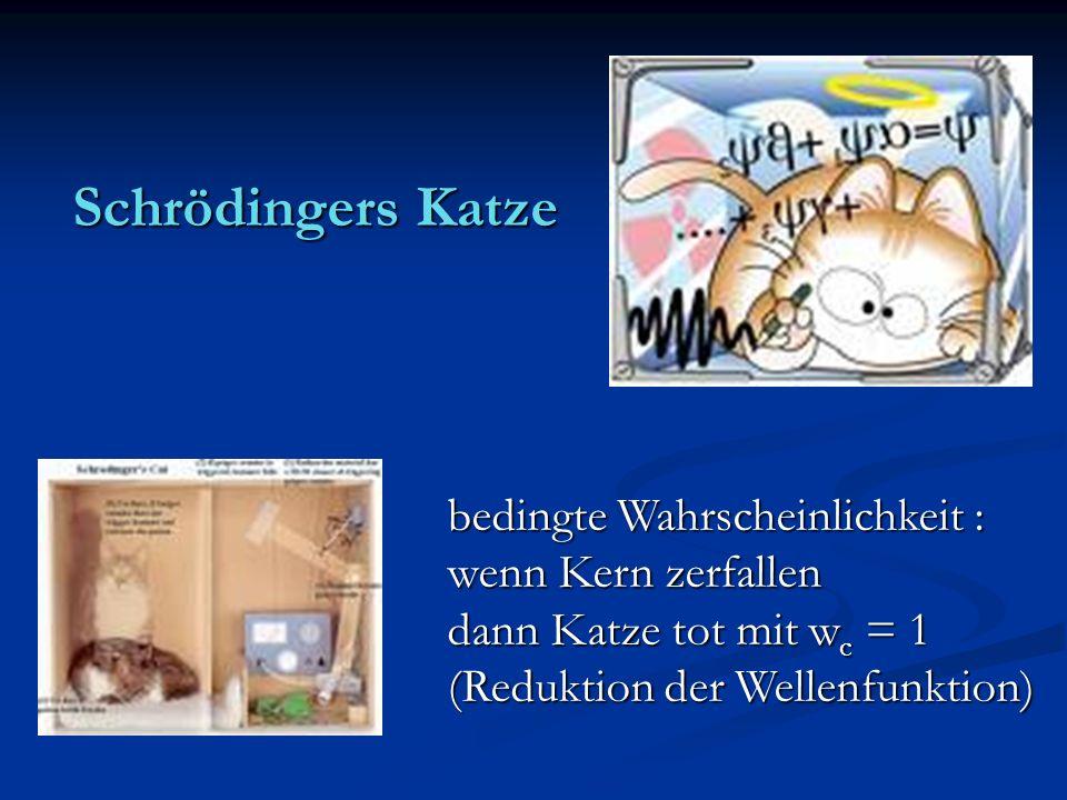 Schrödingers Katze bedingte Wahrscheinlichkeit : wenn Kern zerfallen dann Katze tot mit w c = 1 (Reduktion der Wellenfunktion)