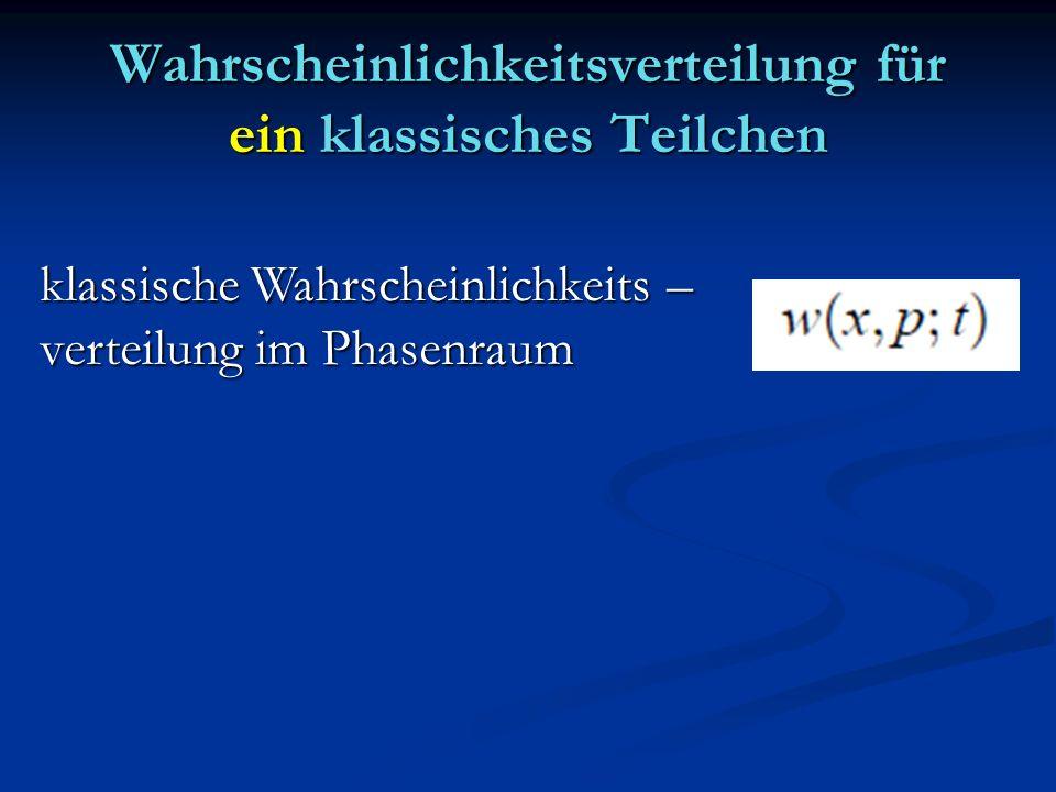 Wahrscheinlichkeitsverteilung für ein klassisches Teilchen klassische Wahrscheinlichkeits – verteilung im Phasenraum