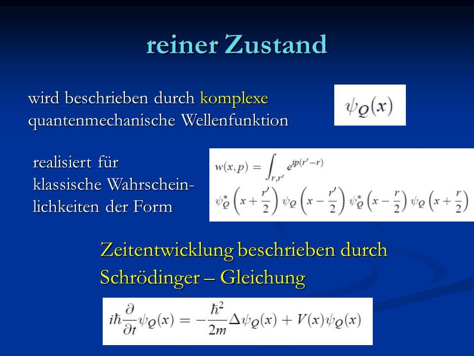reiner Zustand wird beschrieben durch komplexe quantenmechanische Wellenfunktion realisiert für klassische Wahrschein- lichkeiten der Form Zeitentwick
