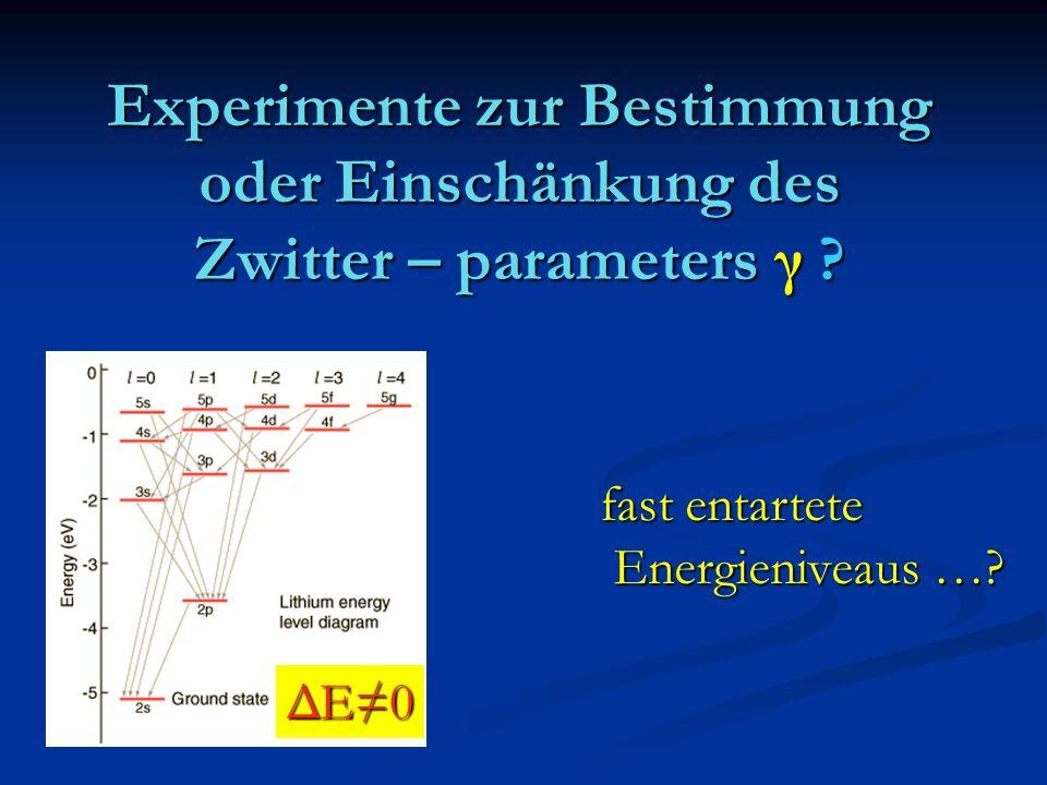 Experimente zur Bestimmung oder Einschänkung des Zwitter – parameters γ ? ΔE0 fast entartete Energieniveaus …? Energieniveaus …?