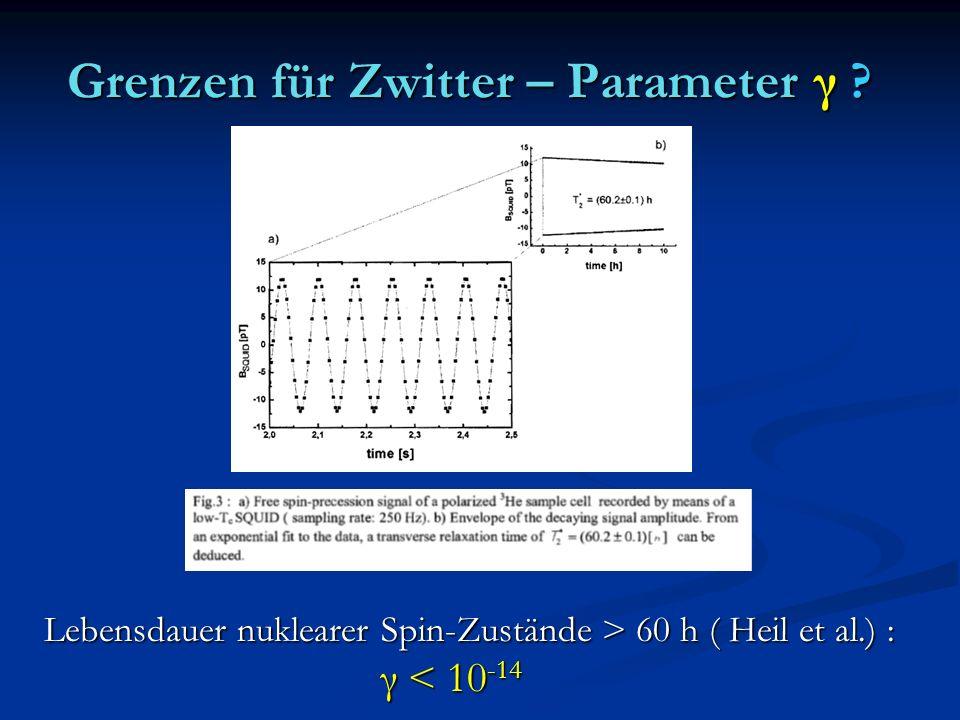 Grenzen für Zwitter – Parameter γ ? Lebensdauer nuklearer Spin-Zustände > 60 h ( Heil et al.) : γ < 10 -14 γ < 10 -14