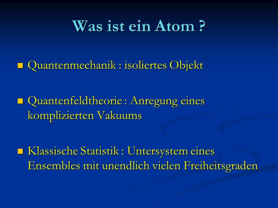 Was ist ein Atom ? Quantenmechanik : isoliertes Objekt Quantenmechanik : isoliertes Objekt Quantenfeldtheorie : Anregung eines komplizierten Vakuums Q