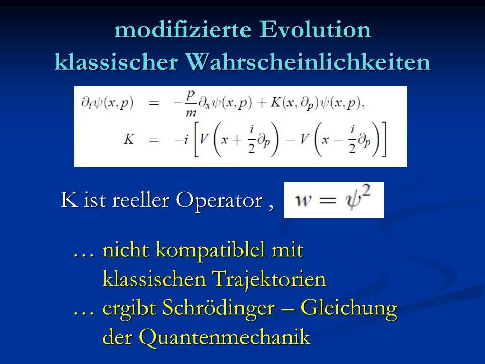 modifizierte Evolution klassischer Wahrscheinlichkeiten K ist reeller Operator, … nicht kompatiblel mit klassischen Trajektorien klassischen Trajektor