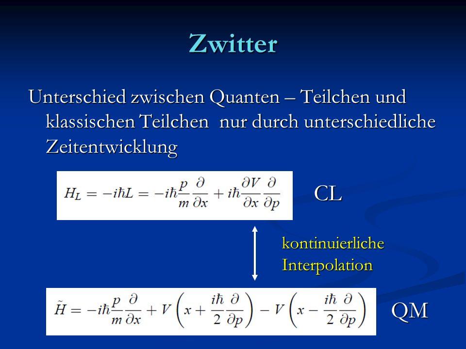 Zwitter Unterschied zwischen Quanten – Teilchen und klassischen Teilchen nur durch unterschiedliche Zeitentwicklung kontinuierlicheInterpolation CL QM