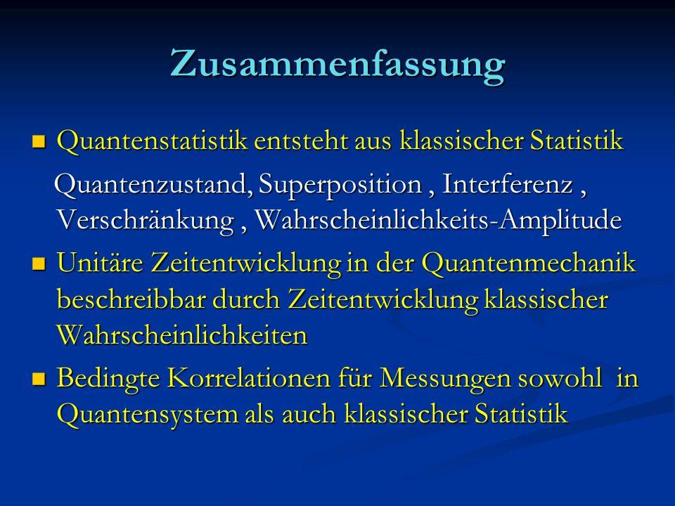 Zusammenfassung Quantenstatistik entsteht aus klassischer Statistik Quantenstatistik entsteht aus klassischer Statistik Quantenzustand, Superposition,