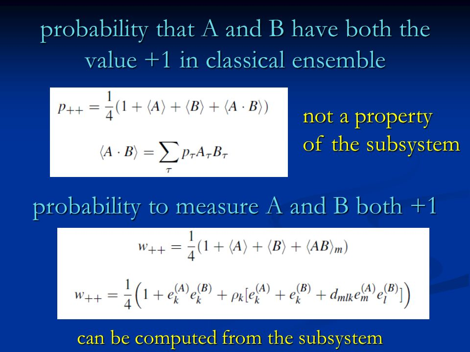 probability that A and B have both the value +1 in classical ensemble not a property of the subsystem probability to measure A and B both +1 can be co
