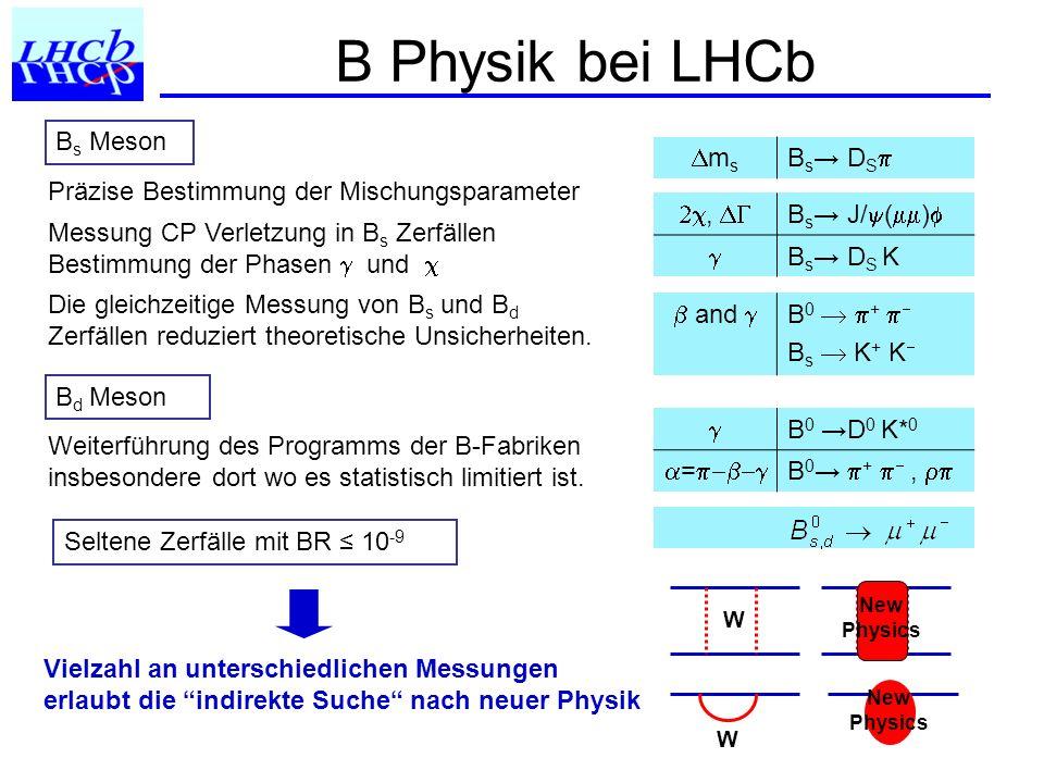 Beispiel: Neue Physik im B Mixing Φ d = 2 + Φ d NP Φ s = 2 + Φ s NP CPV inB 0 J/ K s ~sin(2 +Φ d NP ) B 0 D * ~sin(2 +Φ d NP + ) B s J/ ~sin(2 + Φ s NP ) B s D s K ~sin(2 + Φ s NP + ) Rate of B 0 D 0 K* 0, D 0 K* 0, D 0 CP K* 0 Redundante Messungen: notwendig um CKM Phasen von Effekten Neuer Physik zu untescheiden W New Physics B (s) B (s) mixing phase: Messung der CP Asymmetrie: