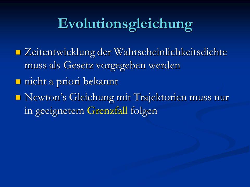 Evolutionsgleichung Zeitentwicklung der Wahrscheinlichkeitsdichte muss als Gesetz vorgegeben werden Zeitentwicklung der Wahrscheinlichkeitsdichte muss