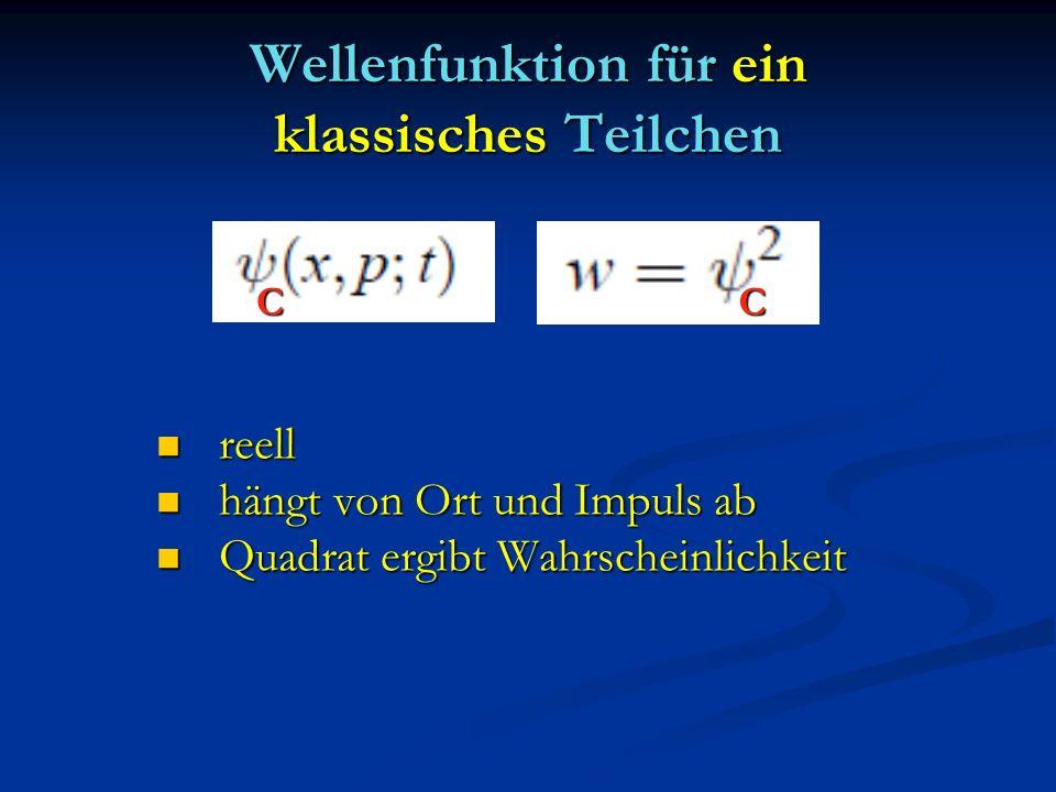 Wellenfunktion für ein klassisches Teilchen reell reell hängt von Ort und Impuls ab hängt von Ort und Impuls ab Quadrat ergibt Wahrscheinlichkeit Quad