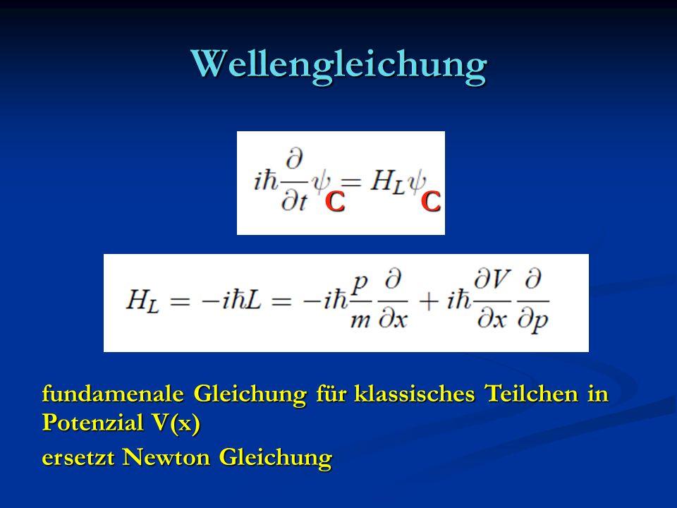 Wellengleichung CC fundamenale Gleichung für klassisches Teilchen in Potenzial V(x) ersetzt Newton Gleichung