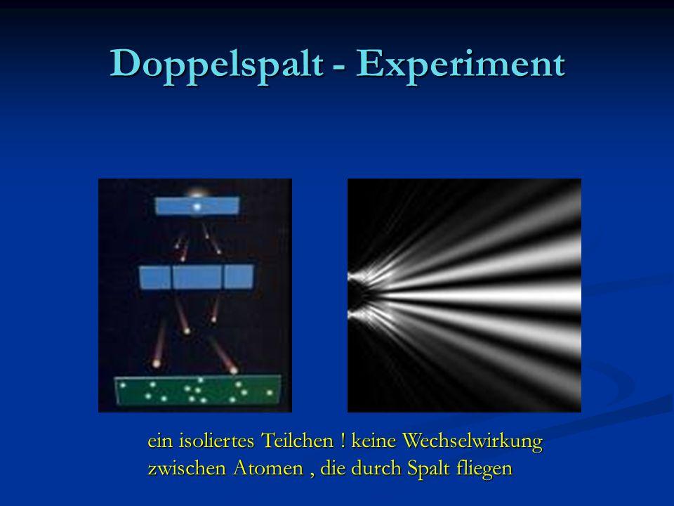ein isoliertes Teilchen ! keine Wechselwirkung zwischen Atomen, die durch Spalt fliegen