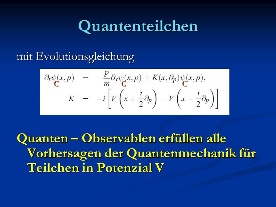 Quantenteilchen mit Evolutionsgleichung Quanten – Observablen erfüllen alle Vorhersagen der Quantenmechanik für Teilchen in Potenzial V CCC