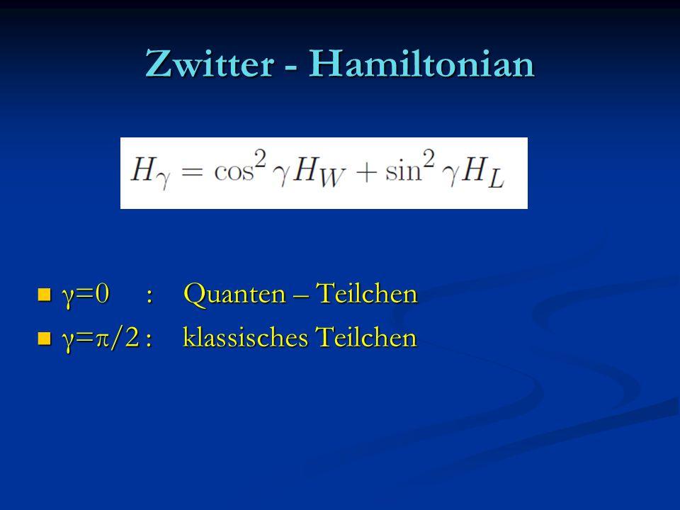 Zwitter - Hamiltonian γ=0 : Quanten – Teilchen γ=0 : Quanten – Teilchen γ=π/2 : klassisches Teilchen γ=π/2 : klassisches Teilchen