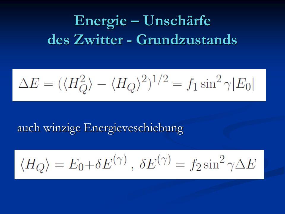 Energie – Unschärfe des Zwitter - Grundzustands auch winzige Energieveschiebung