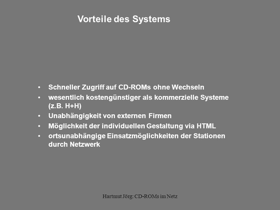 Hartmut Jörg: CD-ROMs im Netz Vorteile des Systems Schneller Zugriff auf CD-ROMs ohne Wechseln wesentlich kostengünstiger als kommerzielle Systeme (z.B.