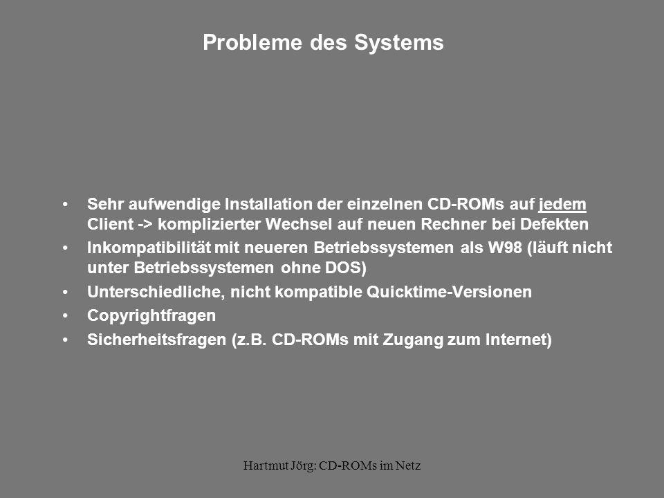 Hartmut Jörg: CD-ROMs im Netz Probleme des Systems Sehr aufwendige Installation der einzelnen CD-ROMs auf jedem Client -> komplizierter Wechsel auf neuen Rechner bei Defekten Inkompatibilität mit neueren Betriebssystemen als W98 (läuft nicht unter Betriebssystemen ohne DOS) Unterschiedliche, nicht kompatible Quicktime-Versionen Copyrightfragen Sicherheitsfragen (z.B.