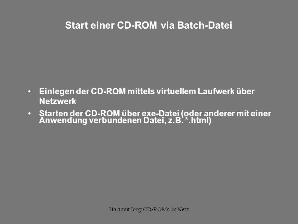 Hartmut Jörg: CD-ROMs im Netz Start einer CD-ROM via Batch-Datei Einlegen der CD-ROM mittels virtuellem Laufwerk über Netzwerk Starten der CD-ROM über exe-Datei (oder anderer mit einer Anwendung verbundenen Datei, z.B.