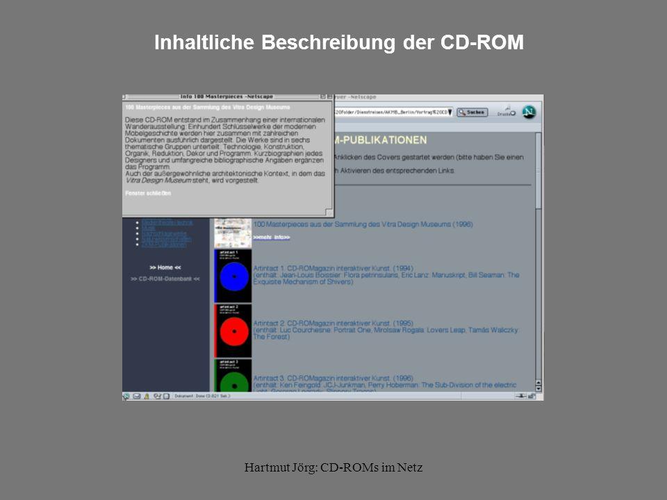 Hartmut Jörg: CD-ROMs im Netz Inhaltliche Beschreibung der CD-ROM