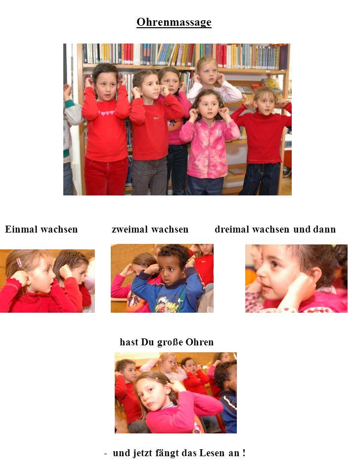 Einteilung der Gruppen (à 4- 8 Kinder) 3 Minuten Kinder bekommen farbige Aufkleber oder Namenschilder oder Abzählverse Augen reiben, dreimal gähnen, noch einmal zurück sich lehnen, Arme recken, Beine strecken, guten Morgen, raus .
