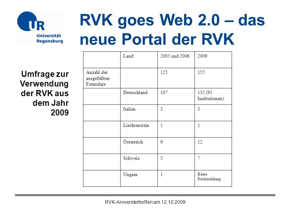 RVK goes Web 2.0 – das neue Portal der RVK RVK-Anwendertreffen am 12.10.2009 Land2005 und 20062009 Anzahl der ausgefüllten Formulare 125155 Deutschlan