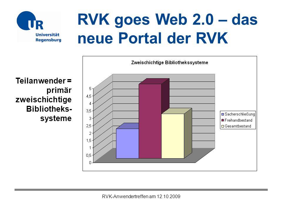 RVK goes Web 2.0 – das neue Portal der RVK RVK-Anwendertreffen am 12.10.2009 RVK als Verbundklassifikation = RVK ist größter Klassifikationsverbund in Deutschland, aber: Die RVK hat durchaus noch Entwicklungspotential…