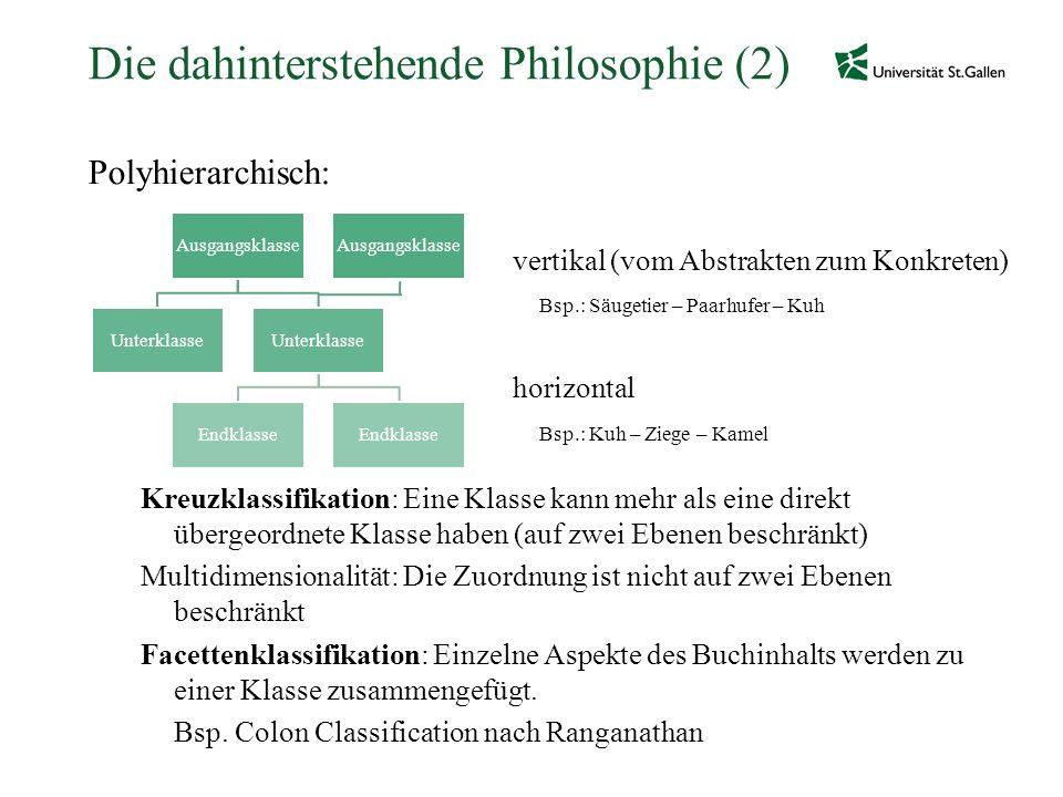 Die dahinterstehende Philosophie (2) Polyhierarchisch: vertikal (vom Abstrakten zum Konkreten) Bsp.: Säugetier – Paarhufer – Kuh horizontal Bsp.: Kuh