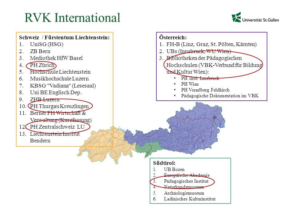 RVK International Schweiz / Fürstentum Liechtenstein: 1.UniSG (HSG) 2.ZB Bern 3.Mediothek HfW Basel 4.PH Zürich 5.Hochschule Liechtenstein 6.Musikhoch