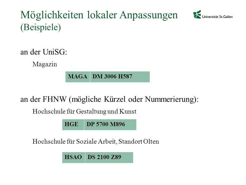 Möglichkeiten lokaler Anpassungen (Beispiele) an der UniSG: Magazin an der FHNW (mögliche Kürzel oder Nummerierung): Hochschule für Gestaltung und Kun