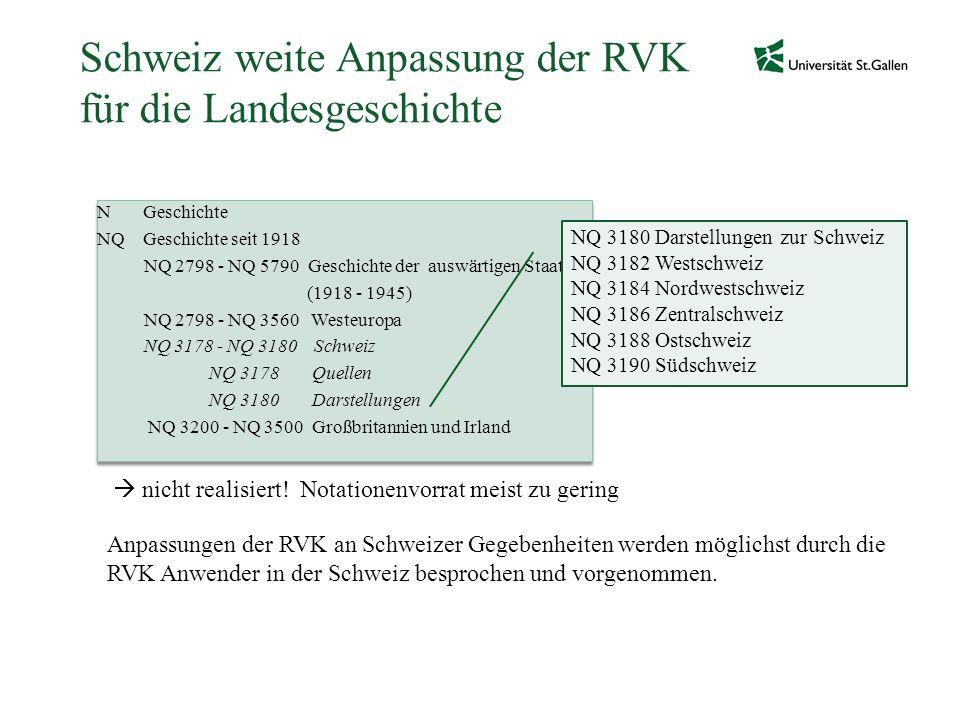 Schweiz weite Anpassung der RVK für die Landesgeschichte N Geschichte NQ Geschichte seit 1918 NQ 2798 - NQ 5790 Geschichte der auswärtigen Staaten (19