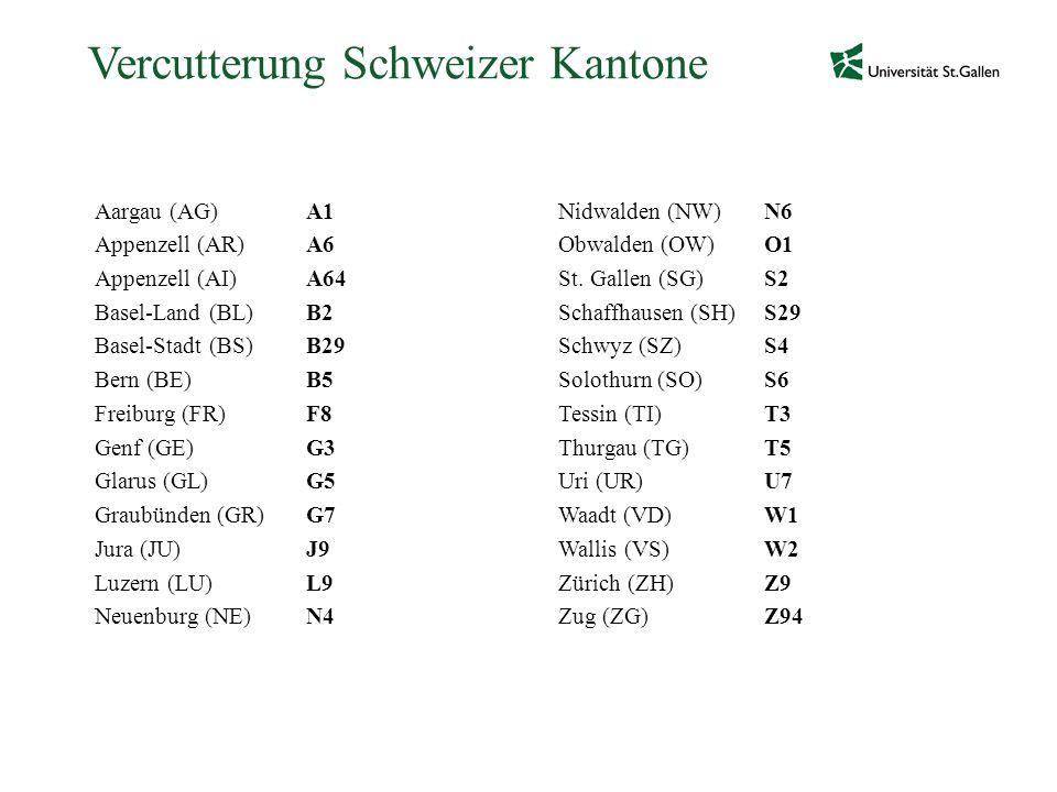 Vercutterung Schweizer Kantone Aargau (AG)A1 Appenzell (AR)A6 Appenzell (AI)A64 Basel-Land (BL)B2 Basel-Stadt (BS)B29 Bern (BE)B5 Freiburg (FR)F8 Genf