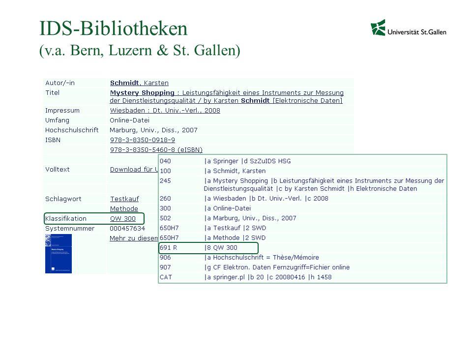 IDS-Bibliotheken (v.a. Bern, Luzern & St. Gallen)