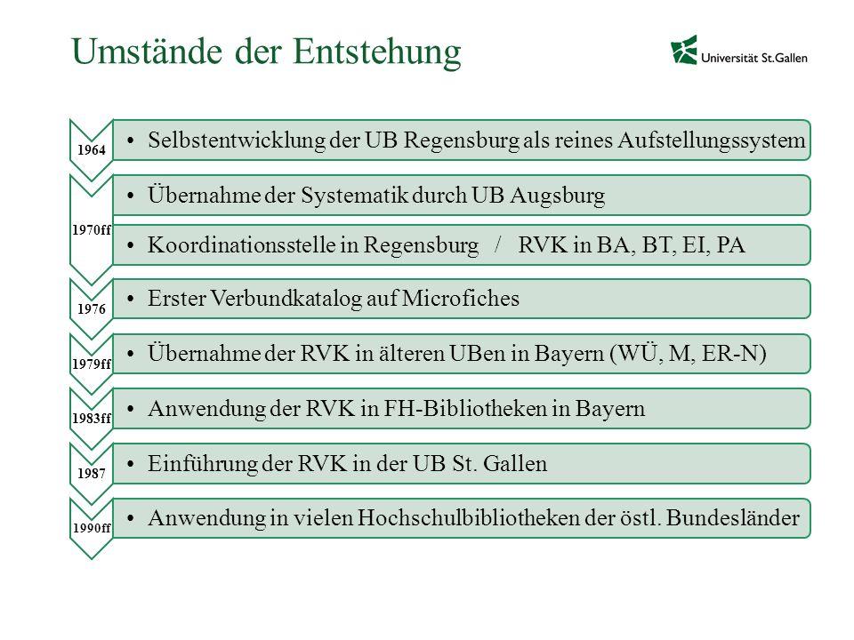 Umstände der Entstehung 1964 Selbstentwicklung der UB Regensburg als reines Aufstellungssystem 1970ff Übernahme der Systematik durch UB AugsburgKoordi