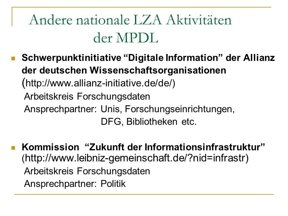 Andere nationale LZA Aktivitäten der MPDL Schwerpunktinitiative Digitale Information der Allianz der deutschen Wissenschaftsorganisationen ( http://ww
