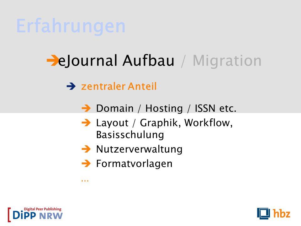eJournal Aufbau / Migration Erfahrungen zentraler Anteil Domain / Hosting / ISSN etc. Layout / Graphik, Workflow, Basisschulung Nutzerverwaltung Forma