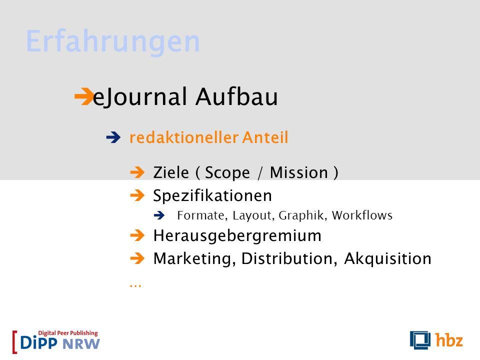 Erfahrungen eJournal Aufbau redaktioneller Anteil Ziele ( Scope / Mission ) Spezifikationen Formate, Layout, Graphik, Workflows Herausgebergremium Mar