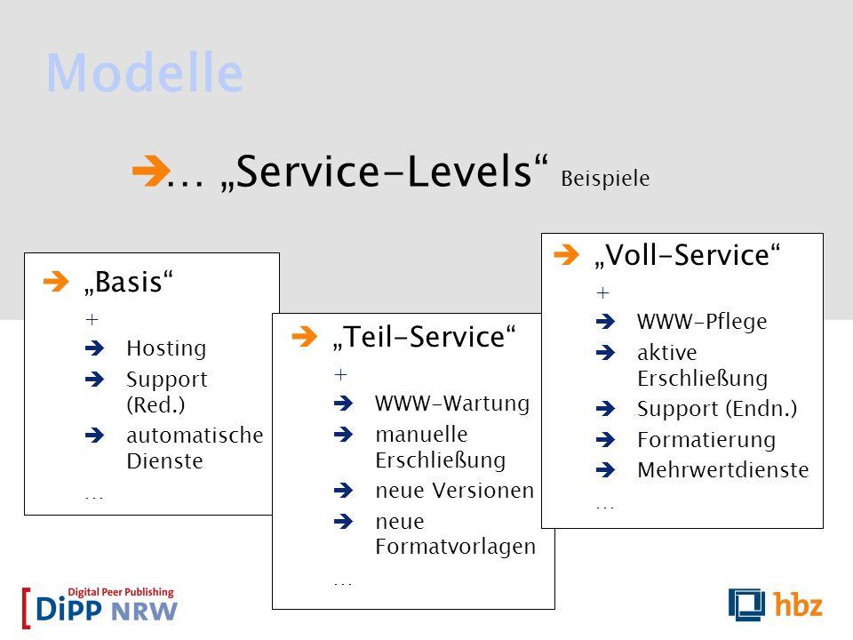 … Service-Levels Beispiele Modelle Basis + Hosting Support (Red.) automatische Dienste … Teil-Service + WWW-Wartung manuelle Erschließung neue Version