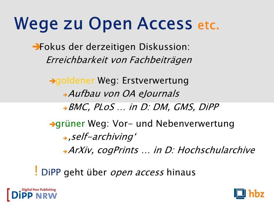 Fokus der derzeitigen Diskussion: Erreichbarkeit von Fachbeiträgen Wege zu Open Access etc. grüner Weg: Vor- und Nebenverwertung self-archiving ArXiv,