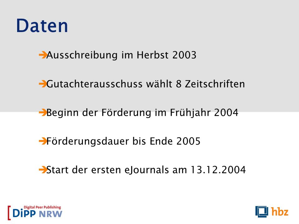 Ausschreibung im Herbst 2003 Gutachterausschuss wählt 8 Zeitschriften Beginn der Förderung im Frühjahr 2004 Förderungsdauer bis Ende 2005 Start der er