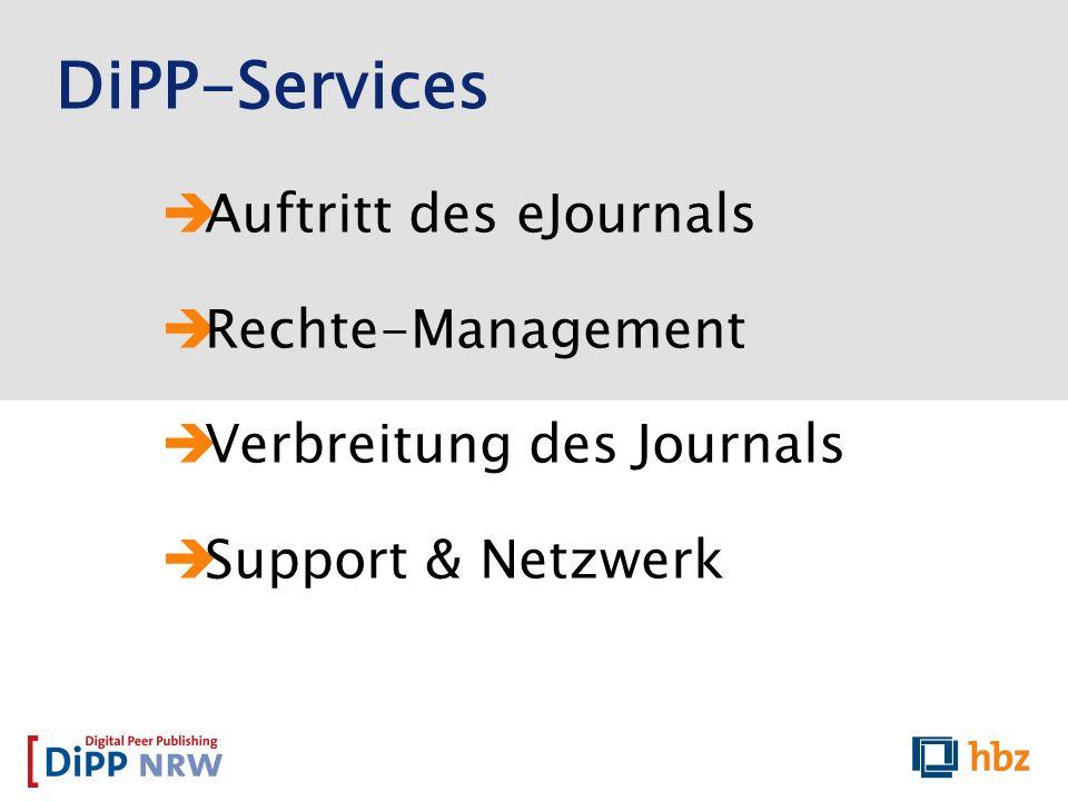 Auftritt des eJournals Rechte-Management Verbreitung des Journals Support & Netzwerk DiPP-Services